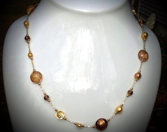 14K Gold filled Venetian Glass Necklace