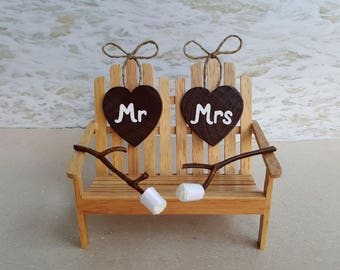 Mr. and Mrs. Camping Cake Topper - Choice of Colors - Adirondack Chair Smores Rustic Campfire Outdoors Camp Woods Bench Chair Wood