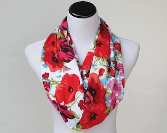 Mother's day scarf gift Poppy scarf infinity scarf, classic scarf poppy flower scarf red pink flowers LONG scarf soft jersey knit loop scarf
