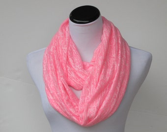 Pink scarf very soft feminine infinity scarf spring scarf burnout knit abstract waves loop scarf circle scarf for women and teenage girls