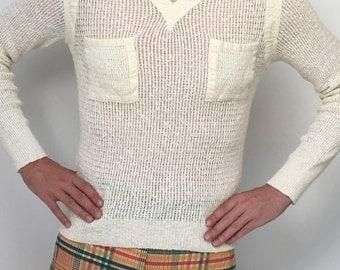 1970's ChRiStiaN Dior MesH NeT V NecK CoTToN YacHt BeAcH SHiRt SwEaTeR MoD MesH GolF SaiLiNg ShiRt CoUnTrY CLuB TeNNiS LoGo ShiRt