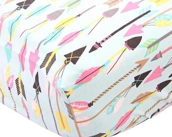 15% OFF SALE - Tribal Girl Arrows Crib Sheet | Pink, Arrow, Tribal, Aztec, Blue Fitted Baby Girl Crib Sheet | Tribal Girl Crib Bedding Set