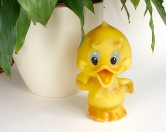Yellow Duck toy, soviet vintage yellow duckling, old rubber collectible toy from 1970s made in Latvia, gift for toddler