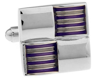 Gentlemens Purple Gold Silver Marching Stripes Checkered Square Cufflinks Cuff Links