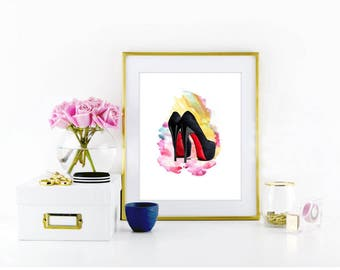 Christian Louboutin prints, Watercolor prints, Fashion prnits, Christian Louboutin Shoes, Christian Louboutin Heels, Red Bottom Shoes