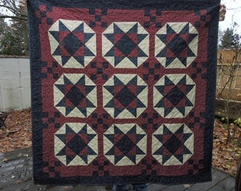 """Patriotic Lap Sized Quilt with Ohio Stars and Nine Patch Blocks     50"""" x 50"""""""