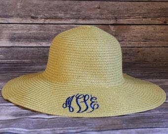 Monogrammed Sun Hat, Monogrammed Floppy Hat