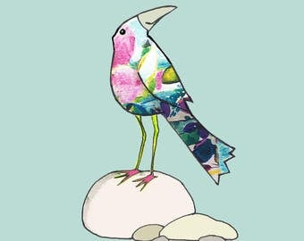 HELLO THERE bird , A jewel coloured, friendly looking bird standing on some nicely rounded pebbles..Printed card from collage original.