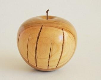 wooden Apple-Cherry wood wooden apple-hand turned-handmade