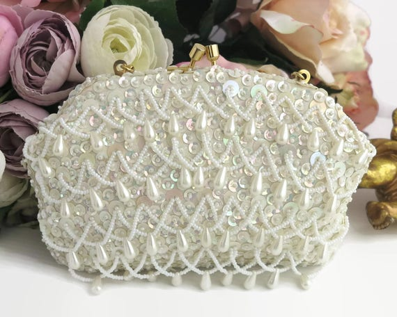 Hand beaded white evening purse, ivory iridescent sequins, seed pearls in centers, loops of seed pearls with pearl drops, wedding, 1960s