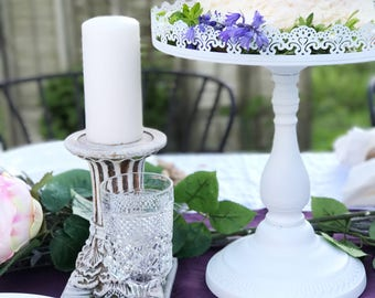 White Wedding Cake Stand Tall Distressed Pedestal Plate Dessert Holder Shabby Cottage Chic Style