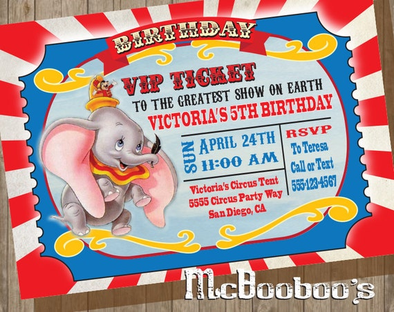 Dumbo Birthday Party Vip Circus Ticket Invitation