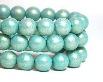 8mm Turquoise Beads, Sueded Beads, 8mm Light Blue Beads, Turquoise Beads, 8mm Glass Beads, 8mm Blue Beads, Sueded Turquoise, T-22C
