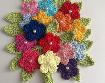 50 Crochet flowers - Leaves - Mix  Multi - Mercerized Cotton - Size 3.2cm