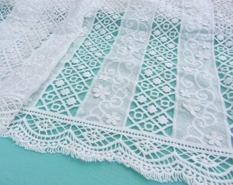 Cotton ivory Lace Fabric in White, Retro Hollowed Flower Lace Embroidery Fabric Eyelet Lace- eyelash Lace fabric