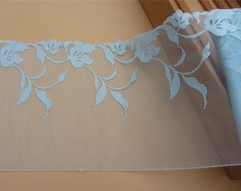 Lace Trim, light blue 7.8 inch wide, For Scrapbook, Home Decor, Apparel, Accessories, Victorian & Romantic Crafts