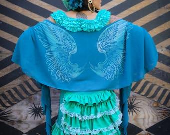 Shawl - Teal, Wrap, Wings Chiffon Burning Man Scarf, Burlesque Dancer Festival Clothing, Boho, Elegant, Gift for Girlfriend, Wing Shawl,