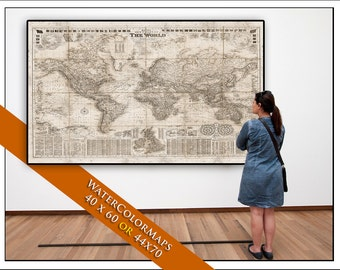 "Pull Down Map.SEPIA World  Map on Canvas 1908. 70""w x 44""h,  Hanging Map, Antique Wall Map. Vintage World Map"