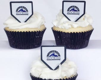 12 Colorado Rockies Cupcake Rings MLB Baseball Toppers Party Favors