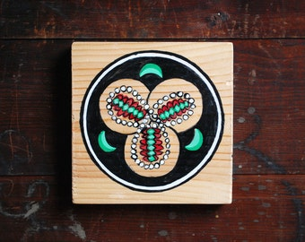 Taco Mon, Small Painting on Reclaimed Wood, Japanese Crest