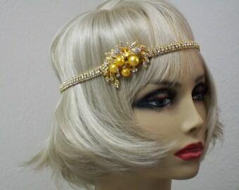Gold 1920s headband, Flapper headpiece, Gatsby headpiece, New Years Eve, Rhinestone headband, 1920s accessories, Roaring 20s dress, Jazz Age