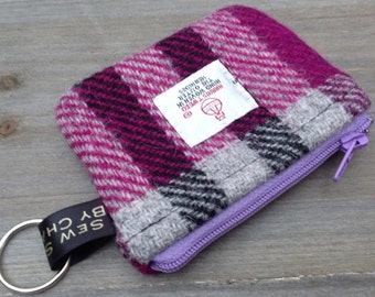 Harris tweed coin purse in purple grey check with keyring loop
