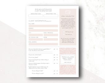 Eyelash Extensions: Client Information Forms, Aftercare Instruction Card, Lash Mapping, Champagne Palette