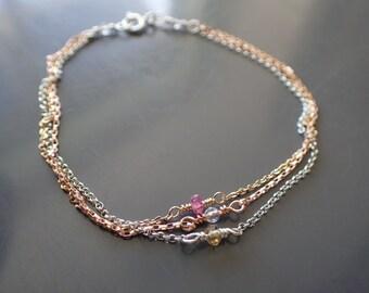 Multi Strand Mixed Metal Bracelet, Three Layer Delicate Bracelet, Dainty, Minimalist, Pink Tourmaline,Citrine,Sterling Silver,Rose Gold Fill