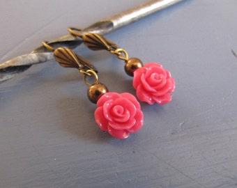 Viele Farben Rosen Blüten vintage Ohrringe nickelfrei