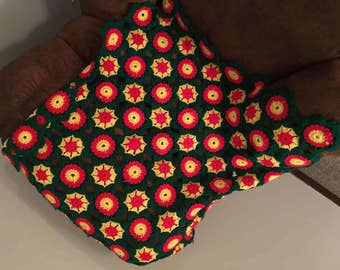 Afghan- lap throw-green-yellow-red