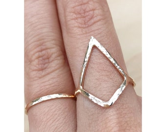 Whitney Ring - Diamond Shaped Ring - Diamond Ring - Modern Ring -