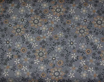 Gray and Golden Brown Small Floral Fabric, Grey Fabric, Honeybell Fabric from Blank Quilting