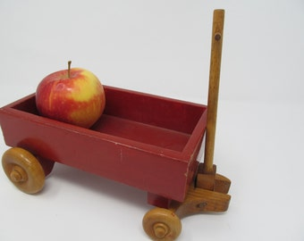Red Wagon - Wood Vintage Pull Toy