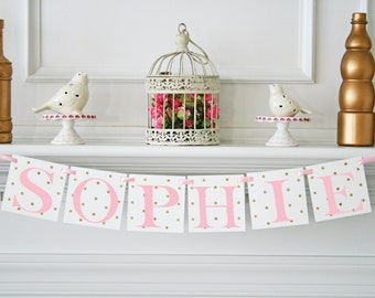 Polka Dot Glitter Baby Shower Decoration, Baby Shower Name Banner, Its a Girl, Pink and Gold First Birthday