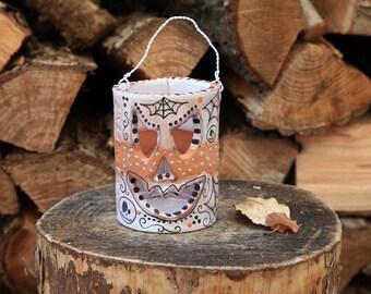 halloween  handmade candle holder pumpkin lantern ceramic