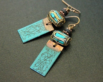 Copper Enamel Earrings - Tibetan Earrings - Turquoise Inlay - Lightweight Earrings - Bohemian - Gypsy - Tribal - Abstract - Artisan Charms