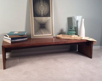 Vintage mid century modern Danish modern Milo Baughman Drexel Perspective walnut coffee table bench waterfall edge George Nelson eames er