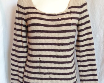 Sweater, beige background and Brown stripes, handmade, size F 38 / 40, USA 29, UK 10 / 12.