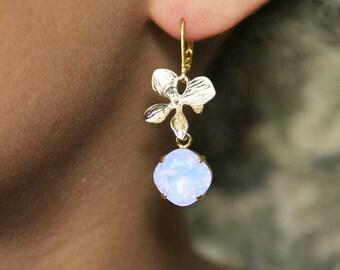Boucles d'oreilles fleurs d'orchidée et cristaux Swarovski, bijoux mariage, - Bridal rhinestones and orchids flower earrings, drop earrings