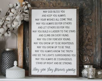 Forever Young Sign, Forever Young Lyrics, Bob Dylan Lyrics Wood Sign, Wood Wall Decor, Inspirational Wood Sign, Song Lyric Sign, Love Sign