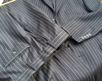 Vintage pinstriped suit, black, Austin Reed, 42L, pure new wool.