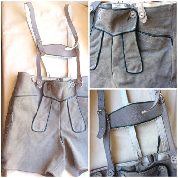 Vintage boys lederhosen,grey suede leather