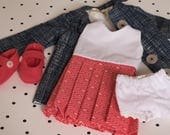 Spring Pleated Doll Dress and Trench Coat Set