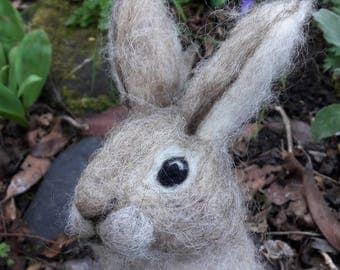 OOAK needle felted brown bunny rabbit standing up