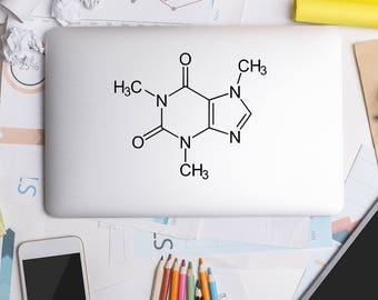 Macbook Decal, Caffeine Molecule, Science Stickers, Science Decal, Apple Macbook, iPad and other laptop, Macbook Decal, Macbook Stickers