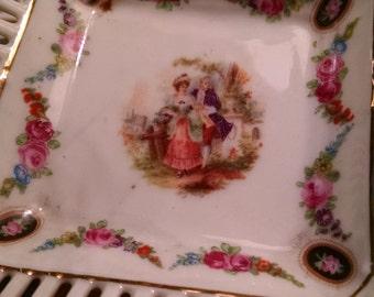 Small vintage square dish/lattice edge dish