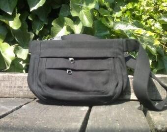 Black canvas hip bag,fanny pack