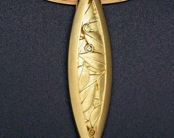 Marquis Leaf Pin/Pendant with Chrysoberyl, 18k  and 18k Cable
