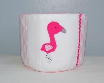 TO order - basket Flamingo - Pink and white cotton fabric