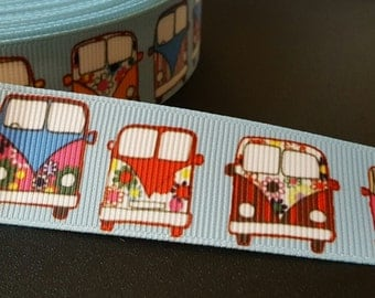 VW vans printed 1 inch grosgrain ribbon for hair bows, scrapbooking, other crafts - sold in lengths of 1, 3 or 5 yards - M2125